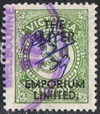 Victoria Bft132 1915 Stamp Duty with Myer Emporium Ltd overprint used